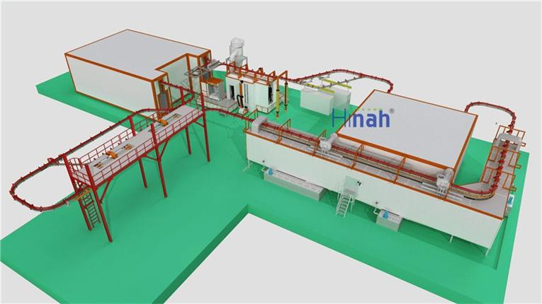 Power And Free Overhead Powder Coating Line