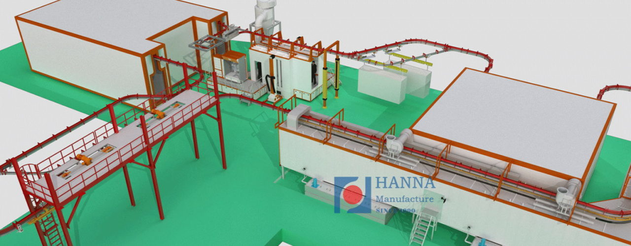 Power And Free Powder Coating Line